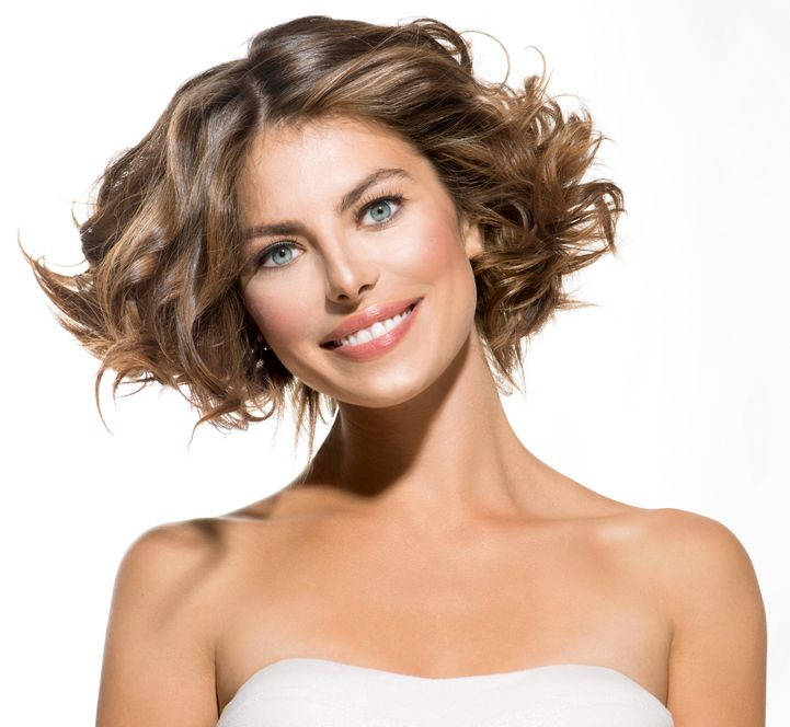 21976962 - beauty young woman portrait over white short curly hair