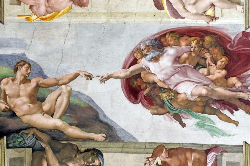 18306424 - michelangelo's frescoes (the creation of adam) in sistine chapel, vatican city