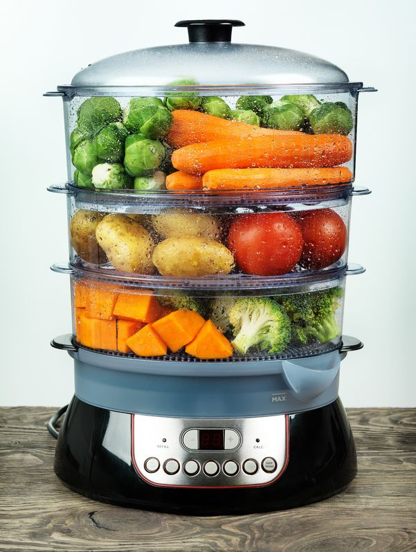 19220239 - healthy food in steamer, steam cooker with various vegetables and fruits