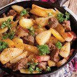 cartofi taranesti cu bacon si carne de porc