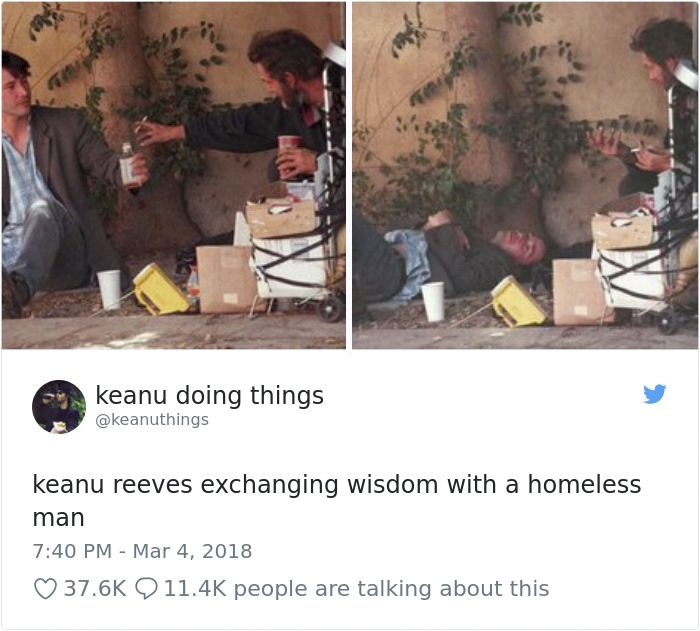 Keanu Reeves cu un homeless