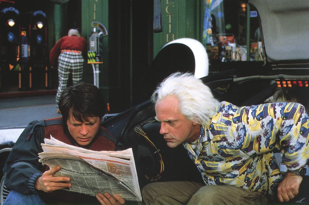 """Michael J Fox, în rolul lui Marty din filmul """"Înapoi în viitor"""""""