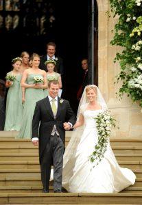 Peter Phillips și Autumn Kelly, la nunta lor din mai 2008, la castelul Windsor