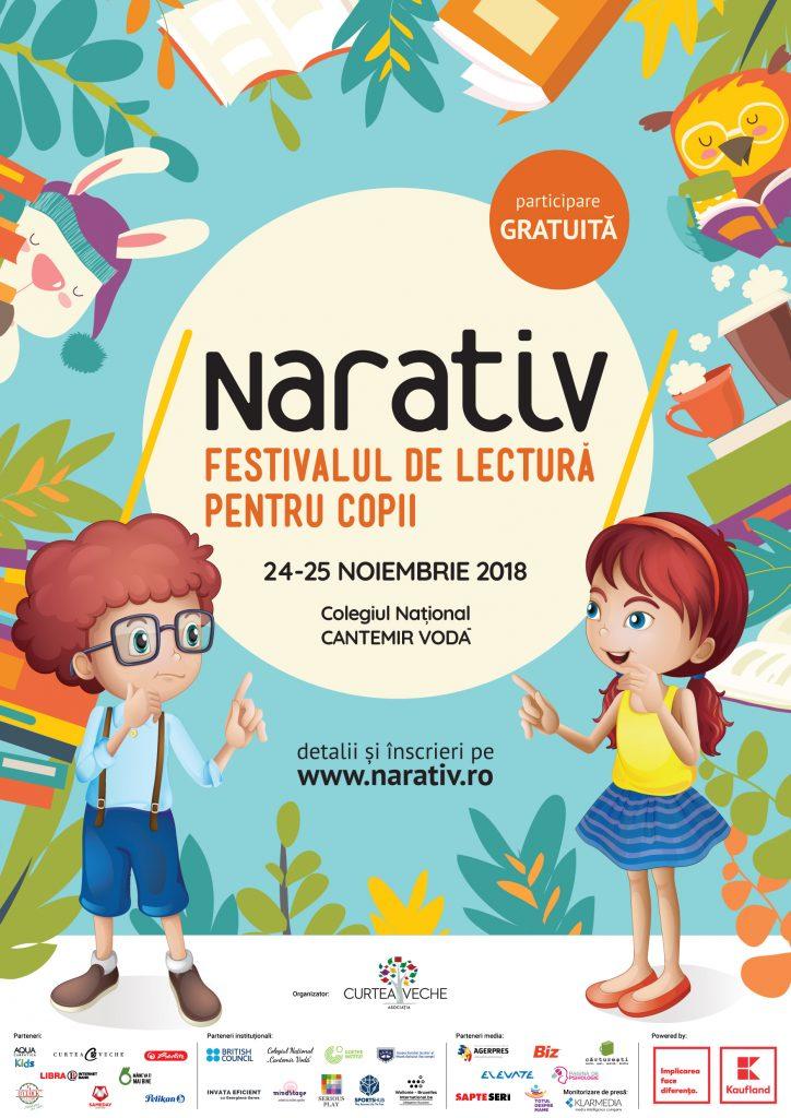 Mâine începe Festivalul de lectură NARATIV – locul unde prind viață cele mai frumoase povești pentru copii! Sâmbătă și duminică, 24 și 25 noiembrie 2018, cei mici și cei mari sunt invitați să participe la ateliere gratuite pentru copii în cadrul Festivalului de lectură NARATIV.Afis_NARATIV_2018