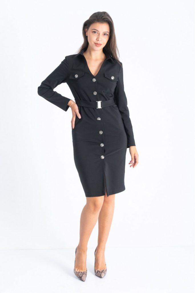 Culori la modă în toamna 2019: Negru. Rochie elegantă pentru birou
