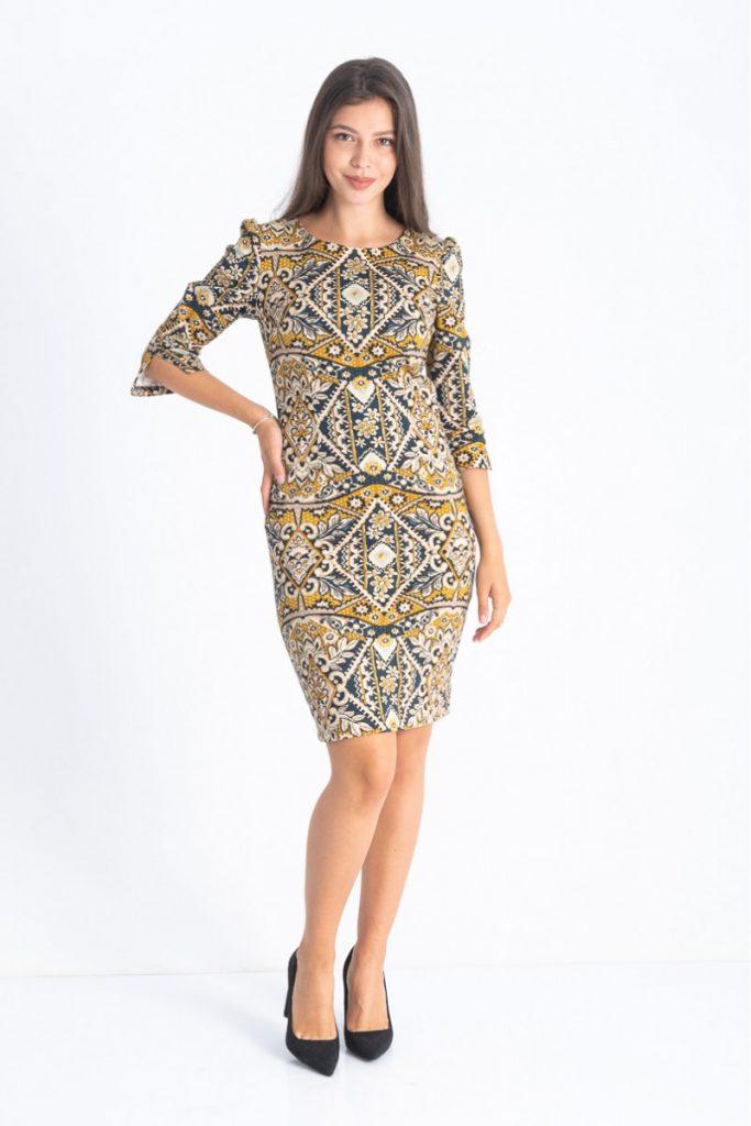 Culori la modă în toamna 2019: Galben. Rochie cu imprimeu predominant galben